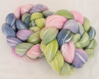 Hand dyed top,  Merino, Bamboo, Spinning wool, hand spinning, spindling, Hand dyed fiber, fibre, felting projects, felting materials