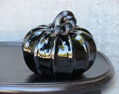 Black Blown Glass Pumpkin...