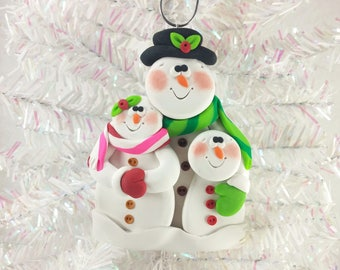 Clay Snowman Family Christmas Ornament - Snow Family of Three - Gift Family of Three - Family Ornament - Snowman Collector Ornament - 5292
