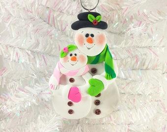 Snowman Couple Christmas Ornament - Snow Couple Ornament - Anniversary Ornament - Engagement Ornament - Snowman Collector Ornament - 61314
