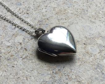 Vintage silver locket, large plain locket, simple heart necklace, heart pendant, minimalist necklace, FREE UK SHIPPING