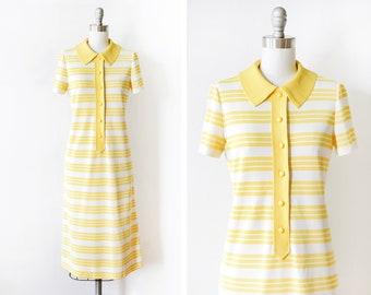 60s striped mod dress, vintage 1960s yellow + white dress, mod scooter dress, button up retro sixties short sleeve shift dress, small medium