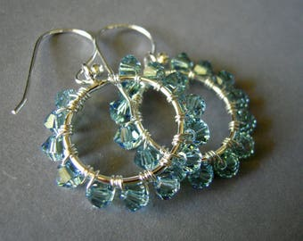 Hoop Earrings, Swarovski Crystal Dangle Earrings, Wire Wrapped, Crystal Wire Wrapped Earrings, Small Hoop