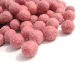 Wool Felt Ball Soft Pink - 20 Pure Wool Beads 15mm -   (W202B)