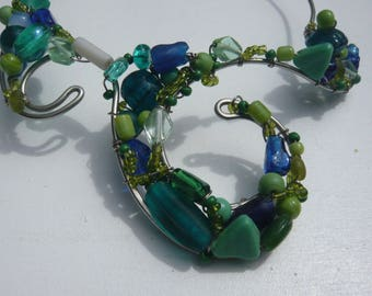Baroque necklace glass beads, OOAK