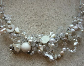 Unique piece. Sissi steel strand bridal necklace