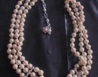 SALE Monet Pearl Chocker Necklace Triple Strands