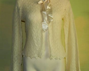 S 50s Ivory Wool Gossamer Bed Jacket Satin Ribbon Ties Pointelle Knit Made in England TLC As Is