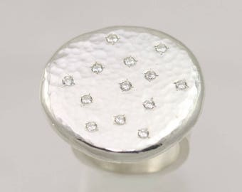 Hammered Chunk Ring (Cubic Zirconia) (Made to Order)
