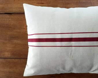 clearance - sample sale - grain sack pillow - grainsack - red stripe - size 16x24 - bed pillow