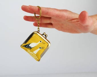 Keychain purse - Stork nest in yellow - Tiny purse / Metal frame coin purse / Japanese fabric / Cotton and steel / Black and white