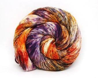 "Glam Rock Sparkle Sock Yarn - ""Punk Rock Pumkin"" -  Handpainted Superwash Merino - 438 Yards"