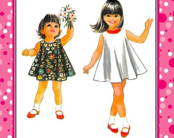 Vintage 1967-SWEET SWING DRESS-Toddler Sewing Pattern-Two Styles-Scoop Neckline-Sleeveless-Easy Loose Fit-Size 2-Rare