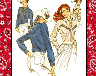 Vintage 1981-RODEO QUEEN BLOUSE-Designer Sewing Pattern-Two Styles Country-Western Style-Fringe-Shaped Yokes-Collars-Uncut-Size 6-12-Rare
