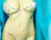 Rhinestone bra chain lingerie check criss cross Festival Bralette body jewelry Burlesque Bridal crystal Glam Diamente Lux Rave