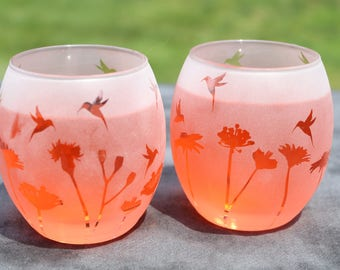 Frosted hummingbird garden stemless red wine glasses or candle holders set of 2