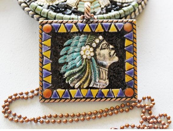 Southwestern Native American Mosaic Pendant Necklace