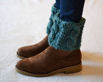 Super Chunky, Fir, Knitted Boot Cuffs, boot toppers,
