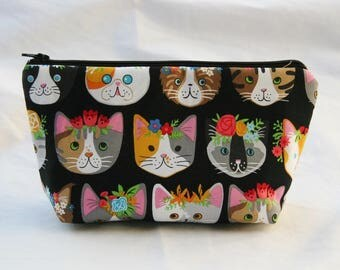 Fancy Felines on Black-Insulated-Padded -Eco-Friendly and Washable-Water- Mildew Resistant Interior-Cosmetic Bag-Clutch-Gadget Bag Pouch
