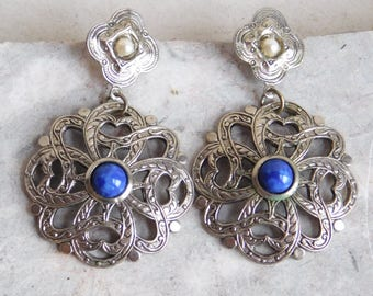 Vintage Faux Lapis Lazuli and Silvertone Metal Dangle Earrings - Post Earrings for Pierced Ears - Celtic-Style - Round Openwork Dangles