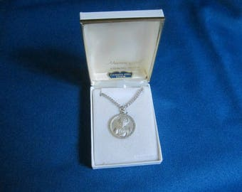 Vintage 1960s Sterling Silver Christian Pendant New Old Store Stock