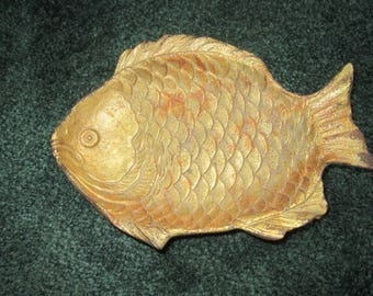 Vintage Wonderful Cast Iron Fish Tray Dish with Bronze Painted Finish