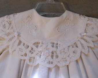 Battenburg Lace Christening Gown with round collar