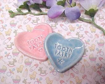Tiny Pottery Dish | Tooth Fairy Holder | Pink Blue Ceramic Heart Shape Bowl  | Ready to Ship