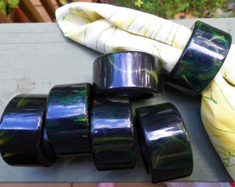 set of 6 green butterscotch swirl BAKELITE NAPKIN RING holders