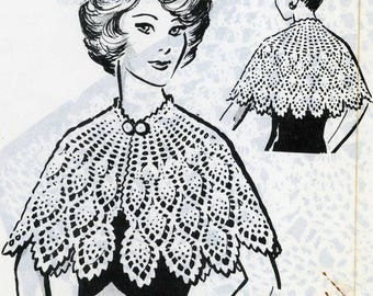 Pineapple Cape Vintage Crochet PATTERN 5912 Cape Misses in 3 sizes small medium large PDF file emailed 2u instant download