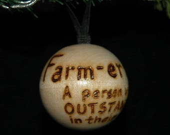 Farmer Ornament - Wood Burned - Personalized - Solid Wood