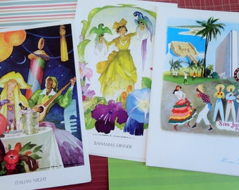Tropical Watercolors in Home Lines SS Oceanic Lunch and Dinner Menus Bahamas Italian Night Lot of 3 March 1982-3
