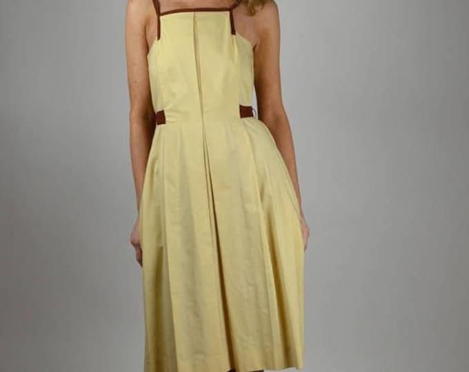 sale Vintage Dress, 40s Dress, Cotton Dress, Yellow Dress, Day Dress, 40s Sundress, Modern Dress, Summer Dress, Sleeveless Dress, 1940s Dres