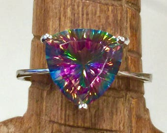 1990s Mystic Topaz Triangle Concave 925 Ring with VVS Clarity Size 7