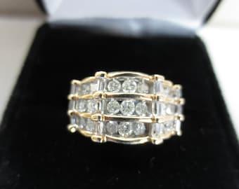 Diamond 14K Yellow Gold Ring Vintage Estate Fine Jewelry NOS