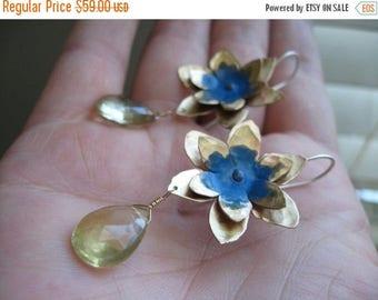 End of Summer SALE Lotus Flower Earring with faceted lemon quartz drop - Sky Blue or Blackberry wine patina