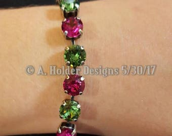 Crystal Bracelet - Erinite Green and Fuschia Swarovski Crystals - 8 mm stone size