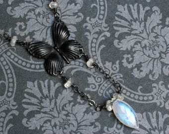 """Moonstone Necklace, Rainbow Moonstone, Butterfly Necklace - """"Chrysalis"""" by CircesHouse on Etsy"""