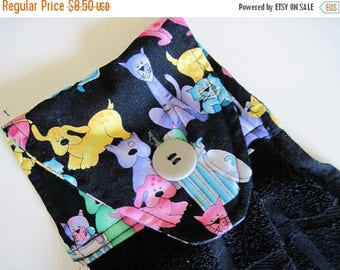 Summer Sale Hanging Button top towel  oven door black towel cats  and dogs
