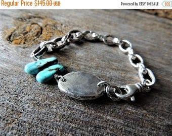 30% OFF CIJ Heavy Sterling Silver Bracelet, Artisan Jewelry, Handmade Silver Links, Recycled Silver, Sleeping Beauty Turquoise, Rustic Jewel