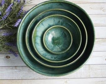 Rustic Stoneware Nesting Bowls, Ceramic Set of Four Green Bowls Handmade Pottery Ready to Ship Made in USA