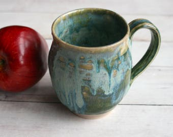 Textured Green Stoneware Mug Ceramic Pottery Coffee Cup 14 oz. Handcrafted Ready to Ship Made in USA