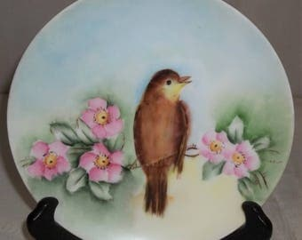 Vintage HP Handpainted Primrose Bird Finch Sparrow Yellowthroat