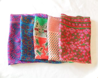 silk scarf lot, 5 small scarves, India Japan, handrolled edges, ladies accessories, vintage
