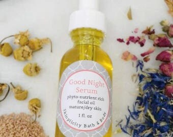 Good Night Face Serum facial oil second skin elixir - made with Tamanu & Marula Oils