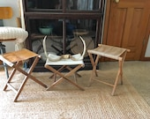 vintage lot of canvas and wood camp stools / trio of glamping stools