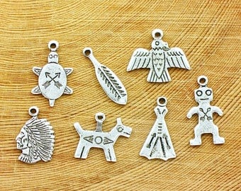 7 sterling silver Native American Indian jewelry charms. Turtle Feather Thunderbird Chief Horse Teepee Man. (S13)