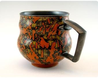 Etched Porcelain Mug with Splatters and Carved Handle
