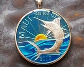 Maui 2013 - Swordfish Coin Pendant - Hand Painted (Last one)