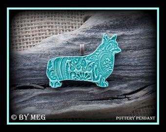 "Corgi Jewelry Pendant , Glazed Pottery Pendant, Ceramic  Dog, Approx  2.50"" Wide"